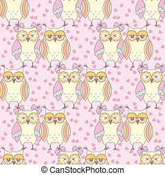 Seamless pattern with owls in love