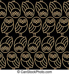Seamless pattern with owls on black