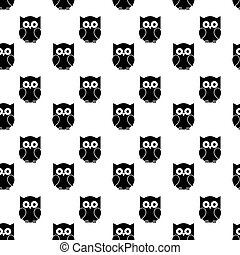 Seamless pattern with owls on white background
