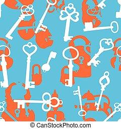 Seamless pattern with padlocks and keys