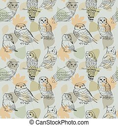 Seamless pattern with painted owls on a background of leaves