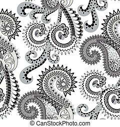 seamless pattern with paisley, decorated with fragments of leopard skin and swirls  with festoons in pale turquoise and gray tones