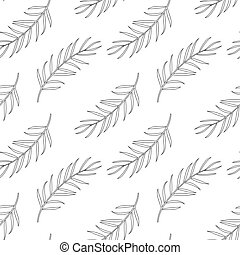 Seamless pattern with palm leaf, coloring page for adults