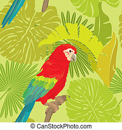 Seamless pattern with palm trees leaves and Red Blue Macaw parrot. Ready to use as swatch.