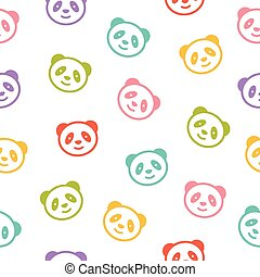 Seamless pattern with panda bear.