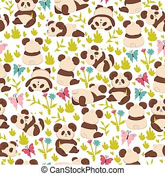 Seamless pattern with pandas on a white background. Vector graphics
