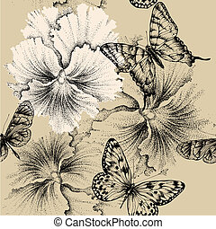Seamless pattern with pansies and butterflies. Vector illustration.
