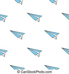 Seamless pattern with paper blue plane
