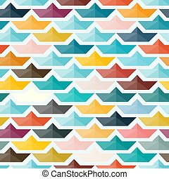 Seamless Pattern with Paper Boats. Colorful Background in...
