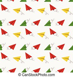 Seamless pattern with paper plane. Vector background.