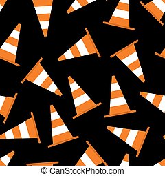Seamless pattern with parking cones