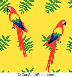 Seamless pattern with parrots