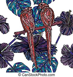 Seamless pattern with parrots.