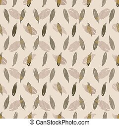 Seamless pattern with patterned leaves. Complex illustration print in olive green, khaki, yellow and cream.