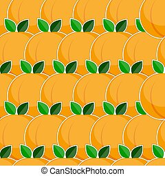 Seamless pattern with peach fruits in flat style