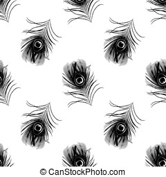 seamless pattern with peacock feathers vector illustration