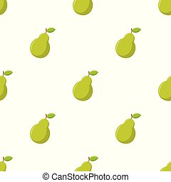 Seamless pattern with pear on white background