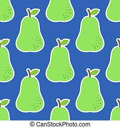 Seamless pattern with pears in green, on blue background
