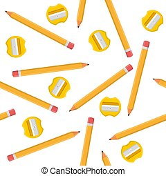Seamless pattern with pencils and yellow sharpeners isolated on white background. Cartoon style. Vector illustration for design, web, wrapping paper, fabric, wallpaper.