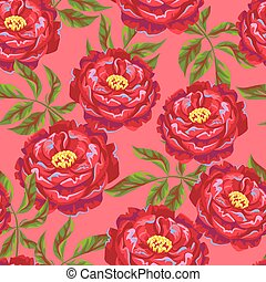 Seamless pattern with peony flowers. Bright buds and leaves.