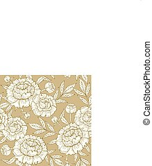 Seamless pattern with peony on a gold background. Hand drawn vector
