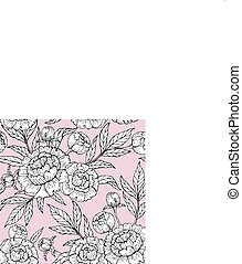 Seamless pattern with peony on a pink background. Hand drawn vector