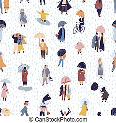 Seamless pattern with people walking under umbrella on...