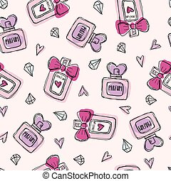 Seamless pattern with perfume bottles crystals and hearts. Colorful hand drawn illustration. Pink background.