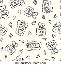 Seamless pattern with perfume bottles crystals and hearts. Hand drawn illustration.