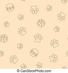 Seamless pattern with pet pawprints and balls. - Seamless ...