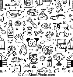 Seamless pattern with pets and their stuff in doodle style. Vector illustration. Cartoon dog, cat, parrot, turtle, fish and many care elements like food, bowl, bone.