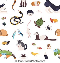 Seamless pattern with pets on white background. Backdrop with cute cartoon domestic animals - mammals, birds, fish, rodents, reptiles and insects. Vector illustration in flat style for wrapping paper.