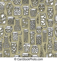 Seamless pattern with pickle jars fruits and vegetables