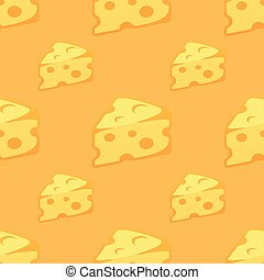Seamless Pattern with pieces of Cheese