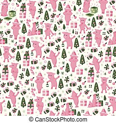 Seamless pattern with pig - chinese symbol of the 2019 year