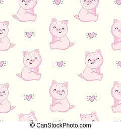 Seamless pattern with pig. Pink background. Polka dot