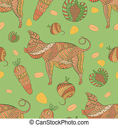 Seamless Pattern with Pig, Veg and Grain. Zentangle Pattern ...