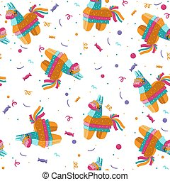Seamless pattern with pinata on a white background. Vector graphics.