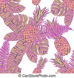 Seamless pattern with pineapples.