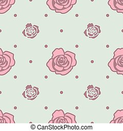 Seamless pattern with pink and blue roses on light blue background.
