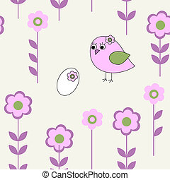 Seamless pattern with pink bird
