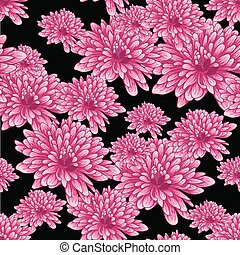 Seamless pattern with pink chrysanthemum flowers on black background