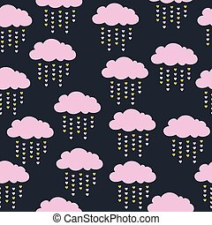 seamless pattern with pink clouds