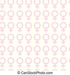 Seamless Pattern With Pink Female Symbols On White Background