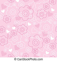 Pink flowers and hearts lovely pink flowers and hearts ornament on seamless pattern with pink flowers and hearts mightylinksfo