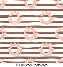 Seamless pattern with pink flowers on lined background. Creative design.