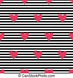 seamless pattern with pink hearts on a striped background