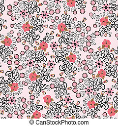 seamless pattern with pink hibiscus