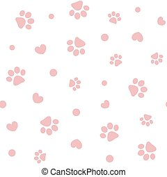 Seamless pattern with pink pet pawprints and hearts. - ...