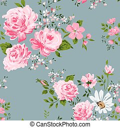 Seamless pattern with pink roses and camomile.